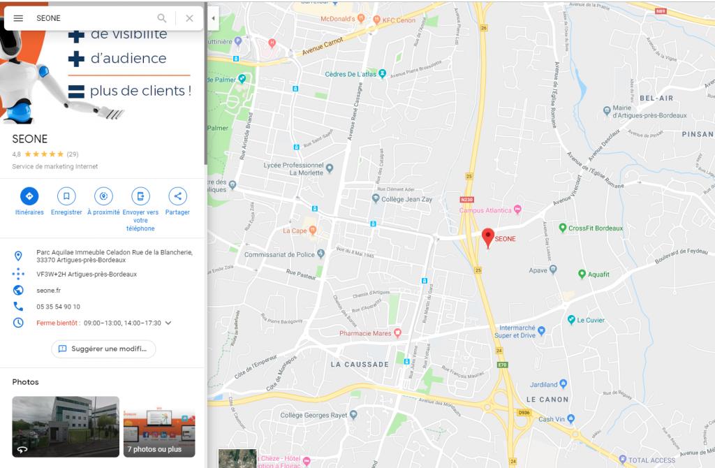Fiche Google My Business - Seone