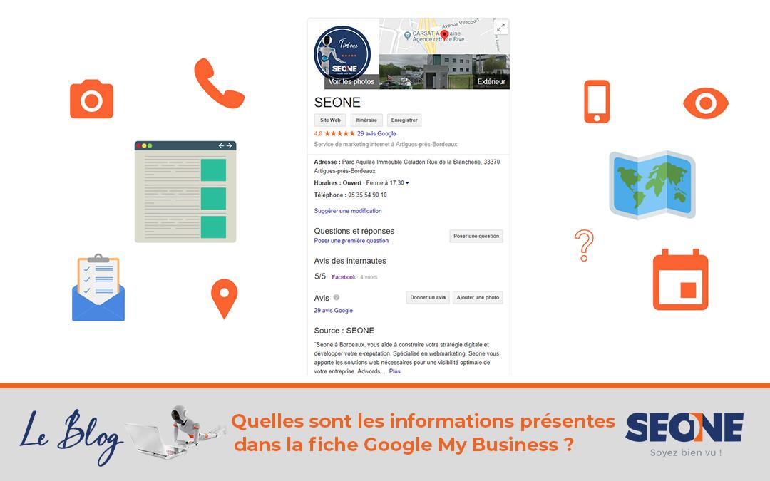 Quelles sont les informations présentes dans la fiche Google My Business ?